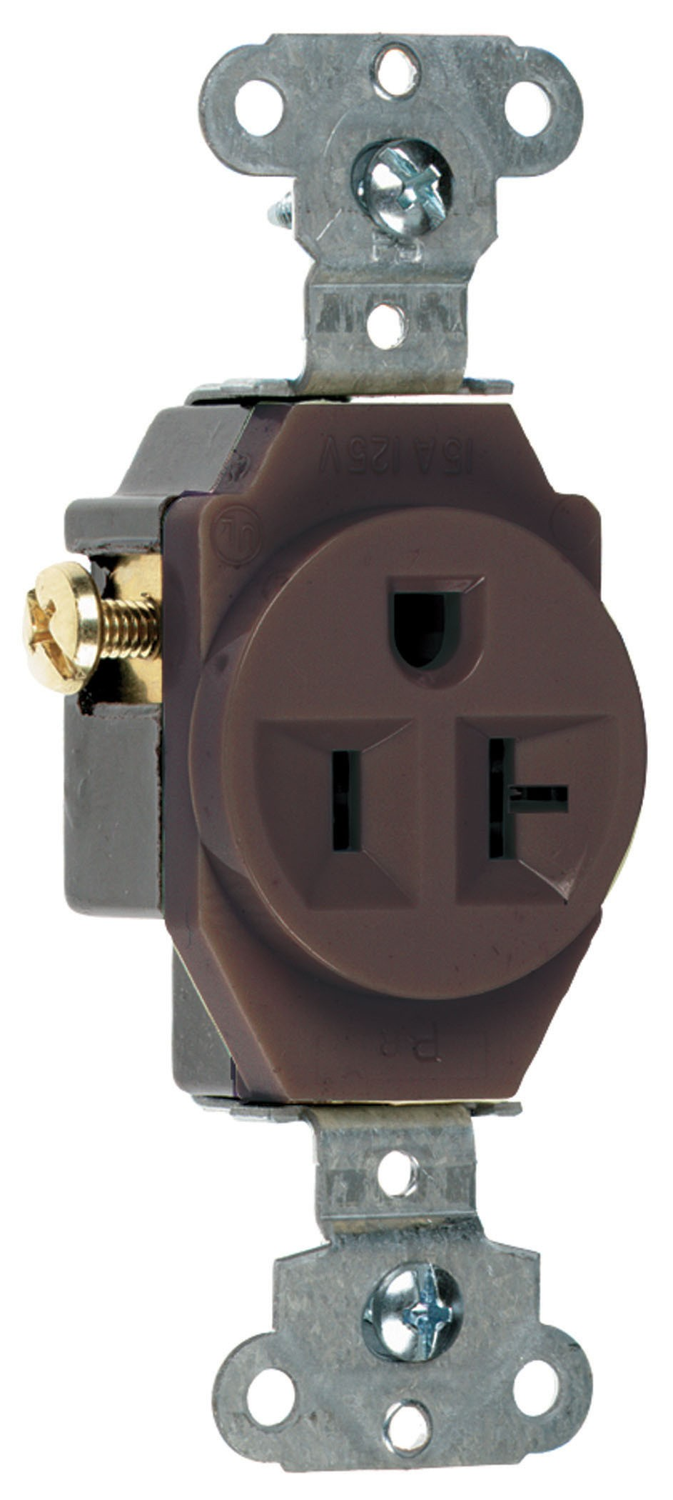 Heavy-Duty Spec Grade Single Receptacles, Side Wire, 20A, 125V, Brown