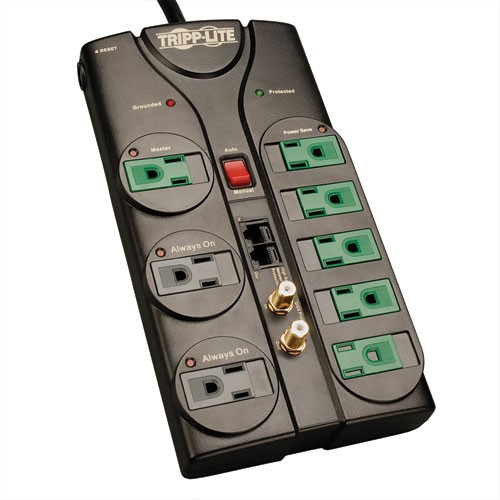 Eco Surge 8 Outlet Surge Protector 8 ft Cord 2880 Joules Tel Modem Coax Ethernet Protection