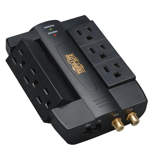 Protect It Surge Protector 6 Swivel Outlets Direct Plug In 1200 Joules Coax Tel Modem Protection