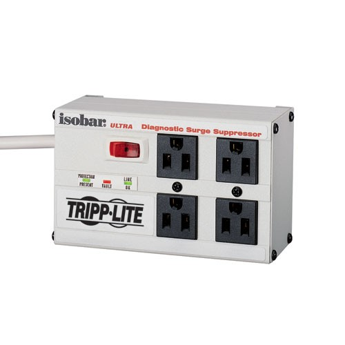 Isobar 4 Outlet Surge Protector 6 ft Cord 3300 Joules Diagnostic LEDs