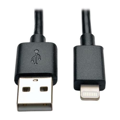 USB Sync Charge Cable with Lightning Connector Black 10 Inch