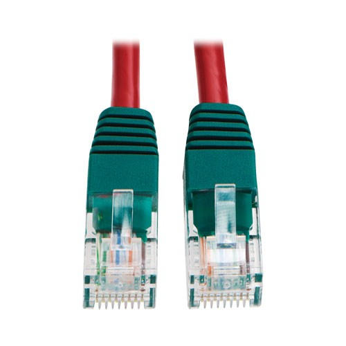 Cat5e 350MHz Molded Cross over Patch Cable RJ45 Red 10 Feet