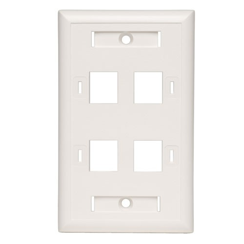 Quad Outlet RJ45 Universal Keystone Face Plate Wall Plate White 4 Port