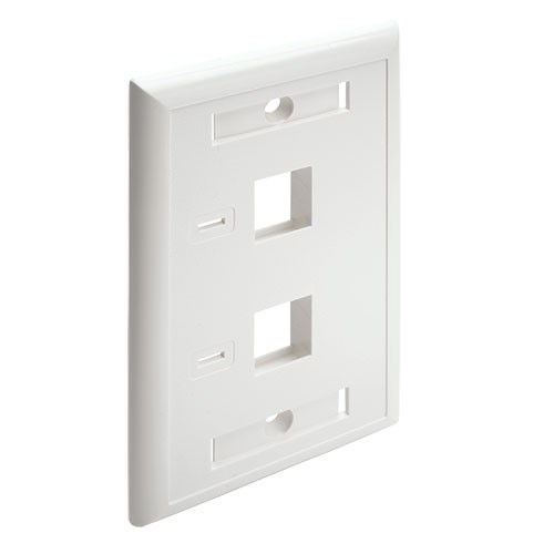 Dual Outlet RJ45 Universal Keystone Face Plate Wall Plate White 2 Port
