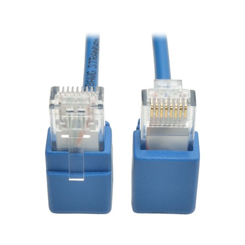 Cat6 Gigabit Snagless Molded Slim UTP Patch Cable Right Angle Connectors RJ45 Male Male Blue 2ft