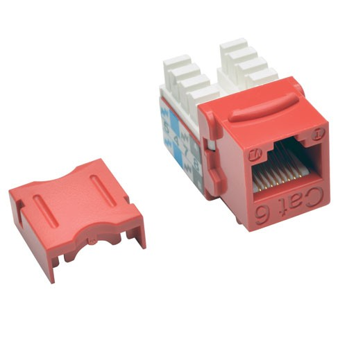 Cat6 Cat5e 110 Style Punch Down Keystone Jack Red 25 Pack
