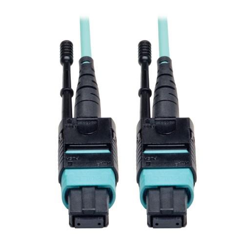MTP MPO Patch Cable 12 Fiber 40GbE 40GBASE SR4 OM3 Plenum rated Aqua 2M 6 ft