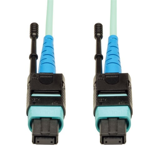 MTP MPO Patch Cable 100GBASE SR10 CXP 24 Fiber 100GbE OM3 Plenum rated Aqua 2M 6 ft