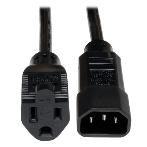 Standard Computer Power Cord 10A 18AWG IEC 320 C14 to NEMA 5 15R 1 ft