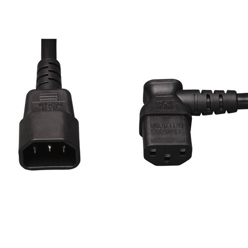 Standard Computer Power Extension Cord 10A 18AWG IEC 320 C14 to Right Angle IEC 320 C13 2 ft
