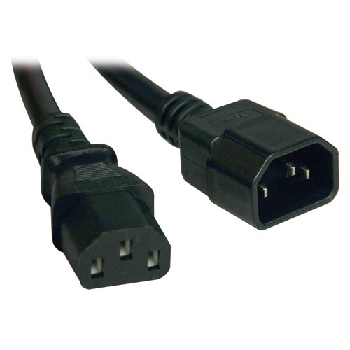 Standard Computer Power Extension Cord 10A 18AWG IEC 320 C14 to IEC 320 C18 8 ft