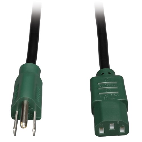 Standard Computer Power Cord 10A 18AWG NEMA 5 15P to IEC 320 C13 Green Plugs 4 ft