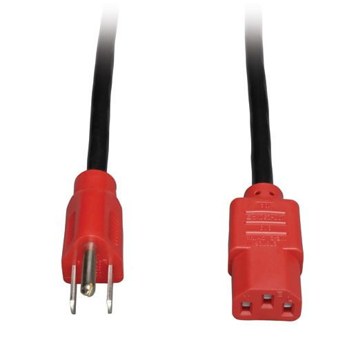 Standard Computer Power Cord 10A 18AWG NEMA 5 15P to IEC 320 C13 Red Plugs 4 ft