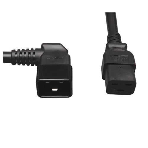 Heavy Duty Computer Power Extension Cord for Servers Computers 20A 12AWG IEC 320 C19 to Left Angle IEC 320 C20 2 ft