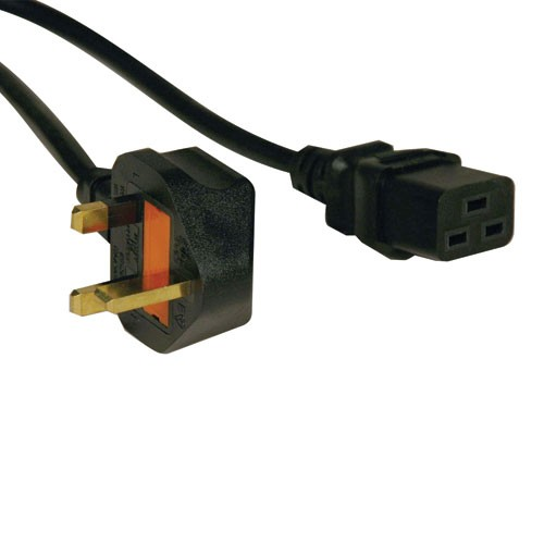 Standard UK Computer Power Cord 13A IEC 320 C19 to BS 1363 UK Plug 8 ft