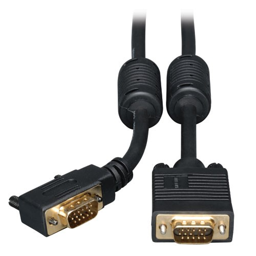VGA Coax Right Angle Monitor Cable High Resolution RGB Coax HD15 Male 6 ft