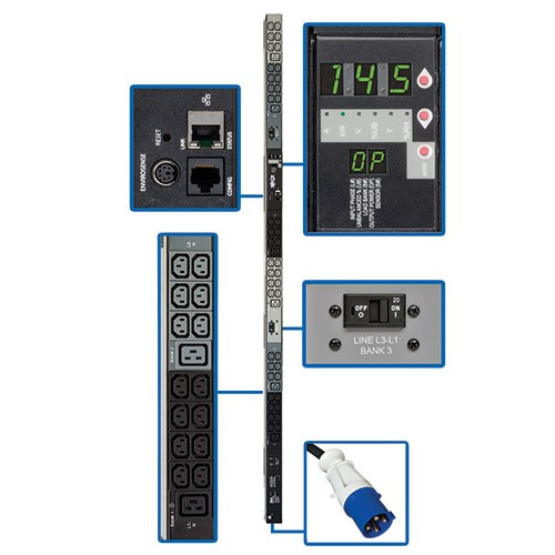 14.5kW 3 Phase Monitored PDU 200 208 240V Outlets 42 C13 6 C19 IEC 309 60A Blue 10ft Cord 0U Vertical TAA