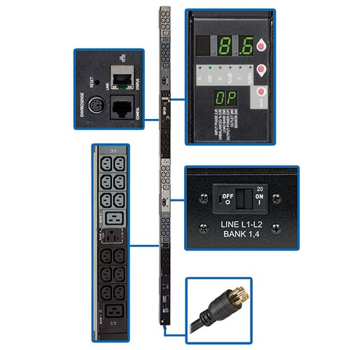 8.6kW 3 Phase Monitored PDU 208 120V Outlets 36 C13 6 C19 3 5 15 20R L21 30P 10ft Cord 0U Vertical TAA