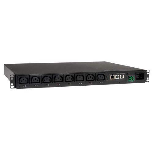 3.2 3.8kW Single Phase Switched PDU 200 240V Outlets 8 C13 C20 L6 20P input 8.5ft Cord 1U Rack Mount TAA