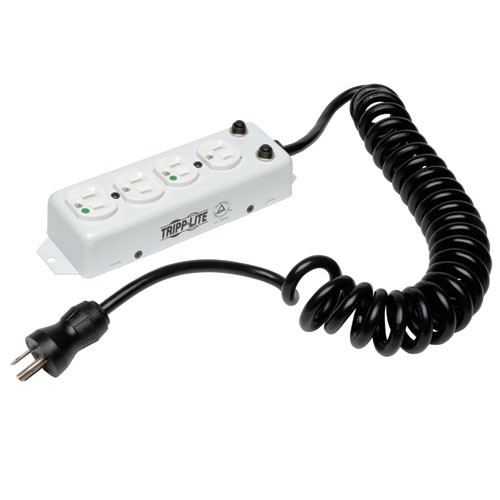 For Patient Care Vicinity UL 1363A Medical Grade Power Strip 4 Hospital Grade Outlets 3 ft Extendable Coiled Cord