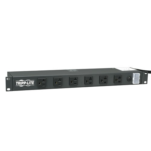 1U Rack Mount Power Strip 120V 20A L5 20P 12 Outlets 6 Front Facing 6 Rear Facing 15 ft Cord