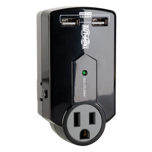 Protect It 3 Outlet Surge Protector Direct Plug In 540 Joules 2.1A USB Charger
