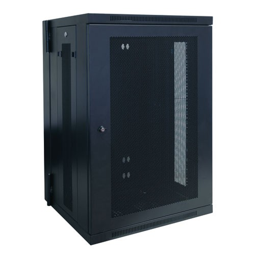SmartRack 18U Low Profile Switch Depth Wall Mount Rack Enclosure Cabinet Hinged Back