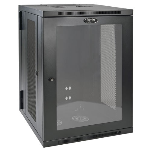 SmartRack 18U Low Profile Switch Depth Wall Mount Rack Enclosure Cabinet Clear Acrylic Window Hinged Back