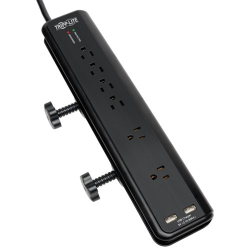 Protect It 6 Outlet Clamp Mount Surge Protector 6 ft Cord 2100 Joules 2 USB Charging ports 2.1A total