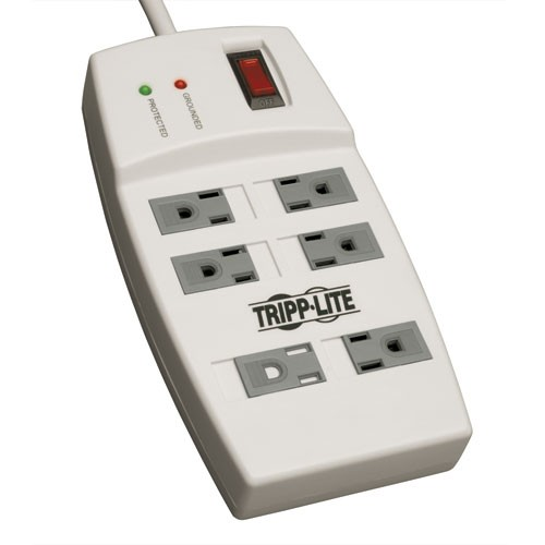 Protect It 6 Outlet Surge Protector 4 ft Cord 540 Joules Accommodates 2 Transformers