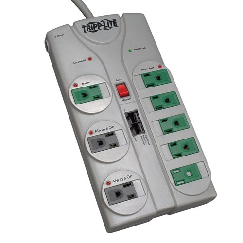 Eco Surge 8 Outlet Surge Protector 8 ft Cord 2160 Joules Diagnostic LEDs