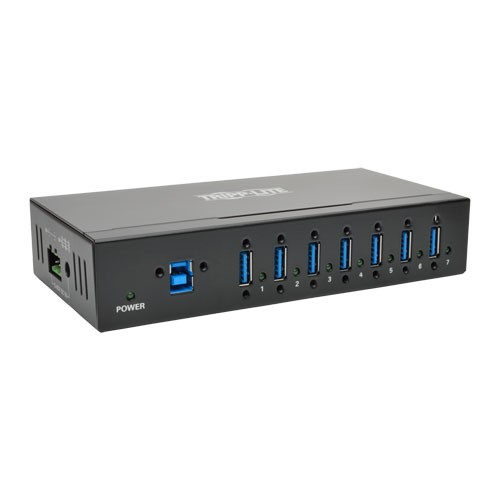 7 Port Rugged Industrial USB 3.0 SuperSpeed Hub 15KV ESD Immunity and Metal Case Mountable