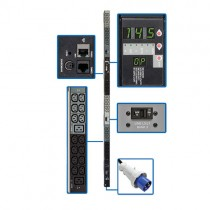 14.5kW 3 Phase Monitored PDU 200 208 240V Outlets 42 C13 6 C19 IEC 309 60A Blue IP67 10ft Cord 0U Vertical TAA