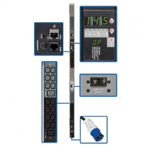 14.5kW 3 Phase Monitored PDU 200 208 240V Outlets 42 C13 6 C19 IEC 309 60A Blue 3ft Cord 0U Vertical TAA