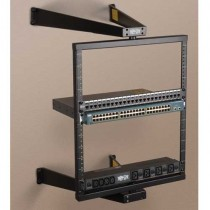 SmartRack 12U Flat Pack Low Profile Switch Depth Wall Mount Pivoting 2 Post Open Frame Rack